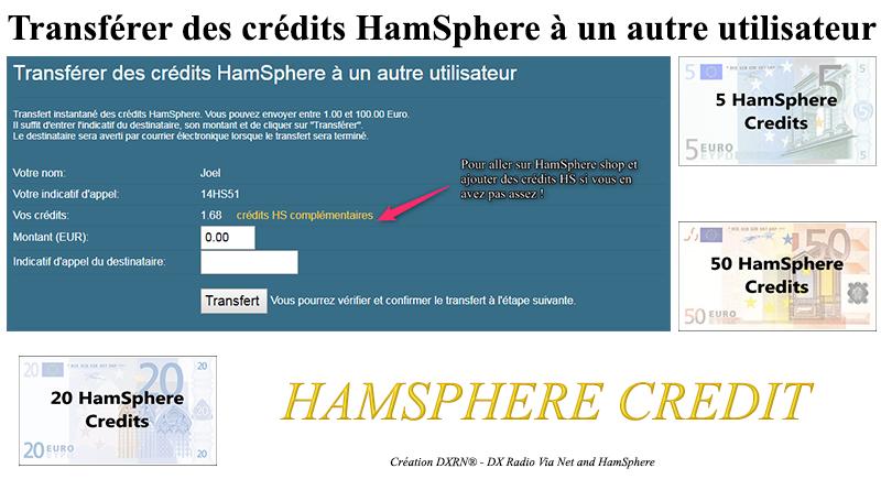 Transférer des crédits HamSphere à un autre utilisateur.